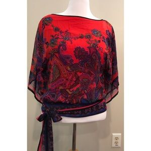 Cache Red Paisley Layered Top